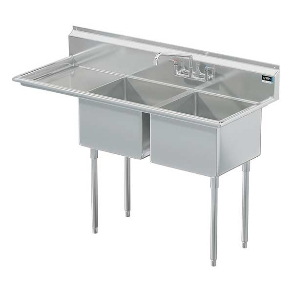 Griffin coved corner commercial sink w/ left drainboard