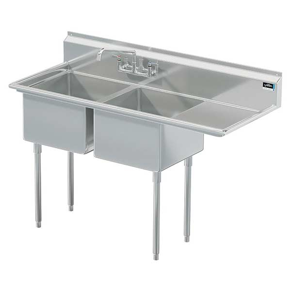 Griffin coved corner commercial sink w/ right drainboard
