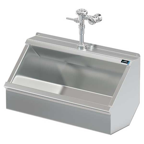 example of stainless steel trough urinal with manual flush valve