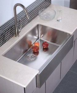 example of apron front sink installed