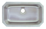 example of large single bowl curved corner kitchen sink