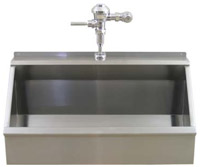 example of stainless steel trough urinal with integral flush pipe