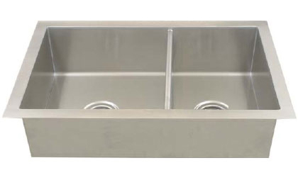 Stainless steel double bowl square corner kitchen sink