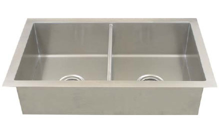 image of 90 degree stainless steel double bowl kitchen sink