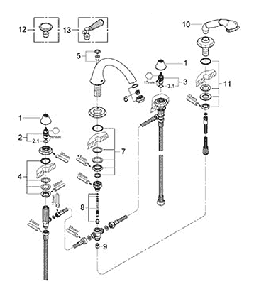 Grohe Kensington Roman Tub Filler Faucet Parts Schematic