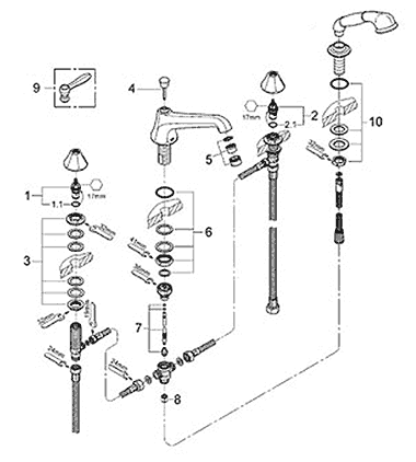 Grohe Somerset Roman tub filler faucet diagram