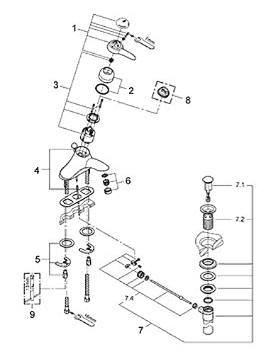 Parts schematic for Talia lavatory faucet