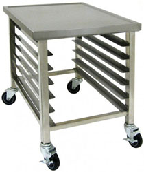 Image of mobile work table with integral pan rack