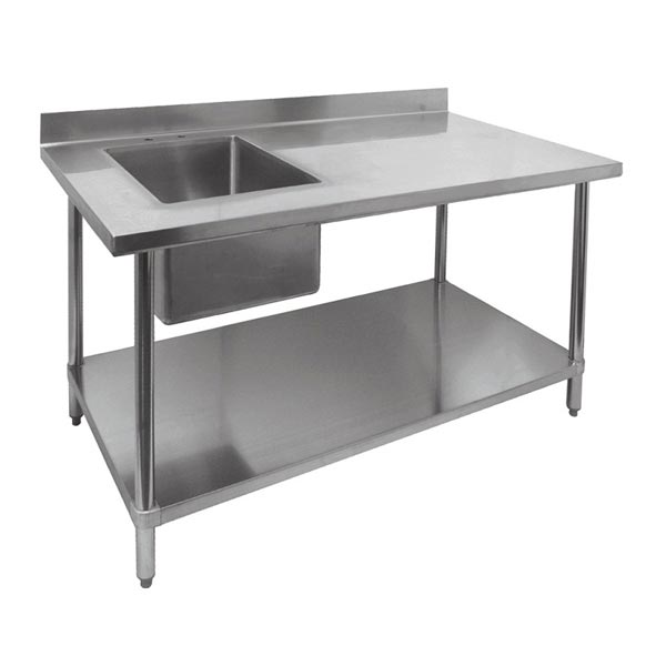 restaurant prep tables with built-in sinks