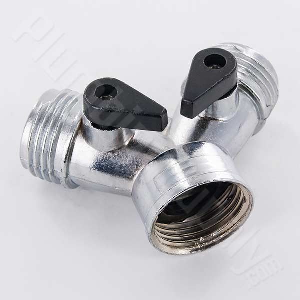 Zinc wye shut off hose fitting