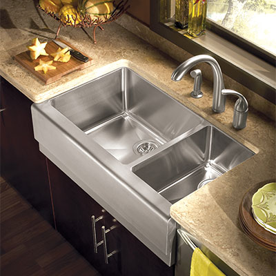Epicure Apron Front Double Bowl Kitchen Sink