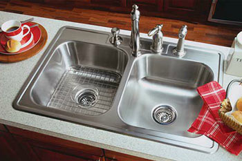Double bowl sink example installed