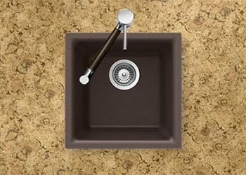 Houzer Quartztone series E-100 granite composite dual mount bar/prep sink in Mocha (Brown)
