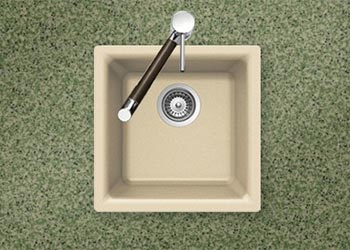 Houzer Quartztone series E-100 granite composite dual mount bar/prep sink in Sand (Tan)