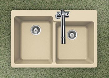 Houzer Quartztone series M-175 granite composite 60/40 double bowl drop-in sink in Sand (Tan)