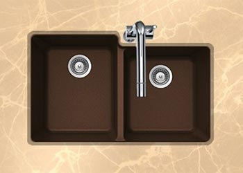 Houzer Quartztone series M-175U granite composite 60/40 double bowl undermount sink in Earth (Brown)