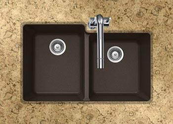 Houzer Quartztone series M-175U granite composite 60/40 double bowl undermount sink in Mocha (Brown)