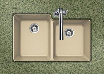 Houzer Quartztone series M-175U granite composite 60/40 double bowl undermount sink in Sand (Tan)