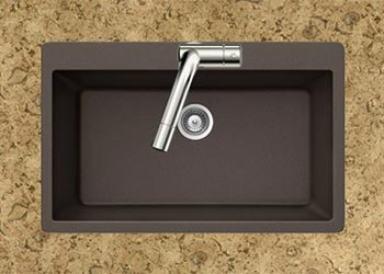 Houzer Quartztone series V-100 granite composite large single bowl drop-in sink in Mocha (Brown)