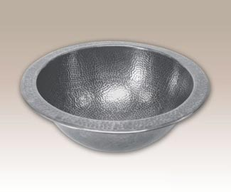 Classic round hammered pewter sink