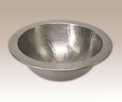 Compact round hammered pewter sink