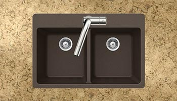 Houzer Quartztone series M-200 granite composite equal double bowl drop-in sink in Mocha (Brown)