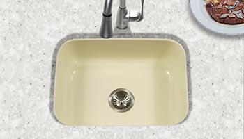Houzer Porcela series PCS-2500 small single bowl undermount kitchen sink in Biscuit porcelain enamel