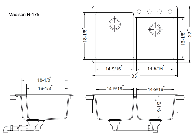 Double Sink Size : Alfa img - Showing > Kitchen Double Sink Dimensions