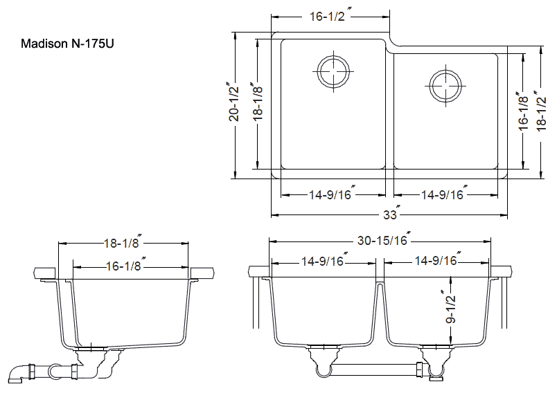 Kitchen Double Sink Dimensions View undermount dimensions