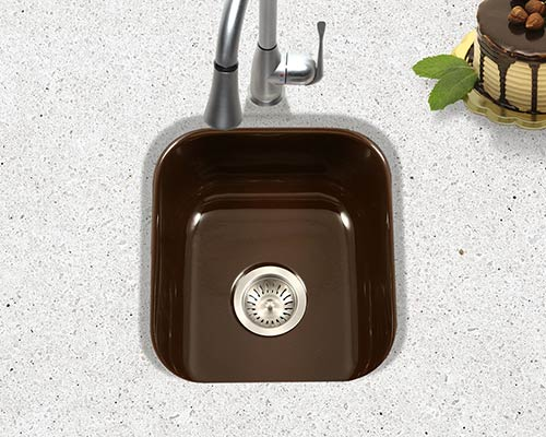Houzer Porcela series PCB-1750 undermount bar/prep sink in Espresso Brown porcelain enamel