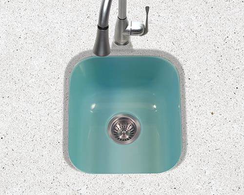 Houzer Porcela series PCB-1750 undermount bar/prep sink in Mint Green porcelain enamel