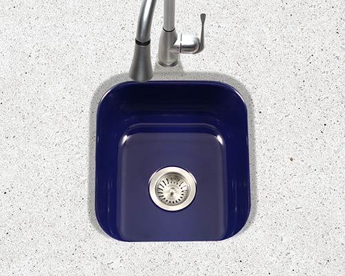 Houzer Porcela series PCB-1750 undermount bar/prep sink in Navy Blue porcelain enamel
