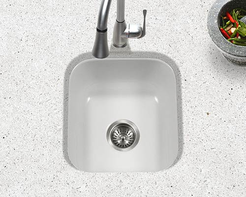 Houzer porcelain enameled steel kitchen sinks houzer porcela series pcb 1750 undermount barprep sink in white porcelain enamel white workwithnaturefo