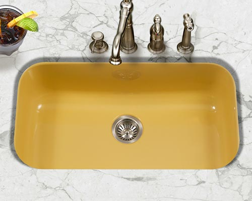 Bathroom Sink Yellow houzer porcelain enameled steel kitchen sinks