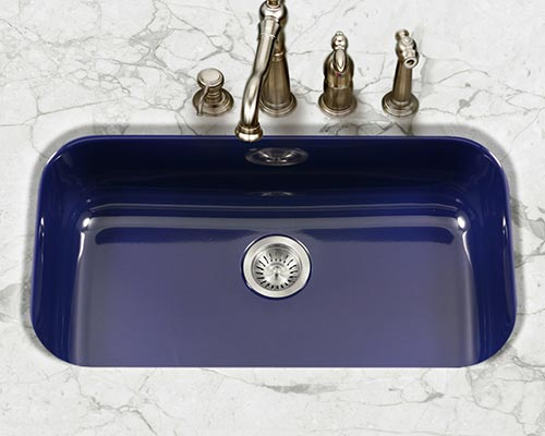 Houzer Porcela series PCG-3600 large single bowl undermount kitchen sink in Navy Blue porcelain enamel