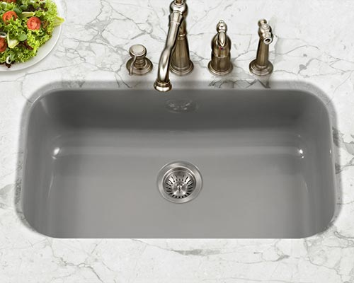 Attrayant Houzer Porcela Series PCG 3600 Large Single Bowl Undermount Kitchen Sink In  Slate Gray Porcelain Slate
