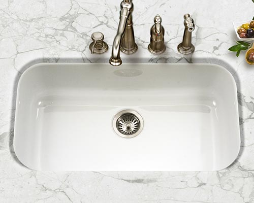 Houzer Porcela series PCG-3600 large single bowl undermount kitchen sink in White porcelain enamel