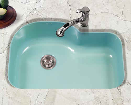 Houzer Porcela series PCH-3700 offset single bowl undermount kitchen sink in Mint Green porcelain enamel