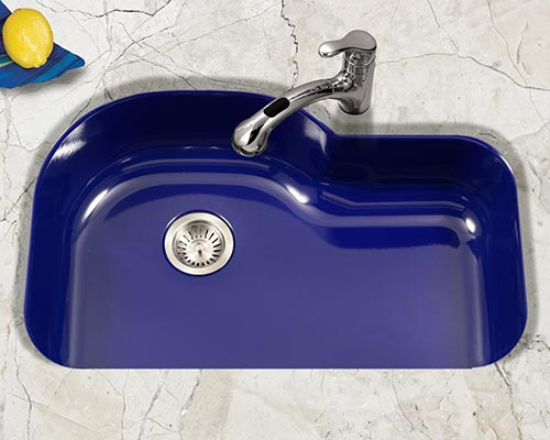Houzer Porcela series PCH-3700 offset single bowl undermount kitchen sink in Navy Blue porcelain enamel