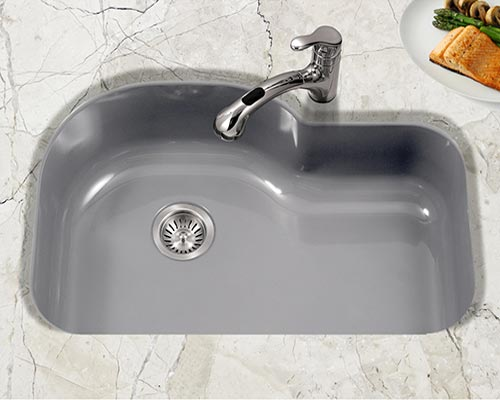 Houzer Porcela series PCH-3700 offset single bowl undermount kitchen sink in Slate Gray porcelain enamel