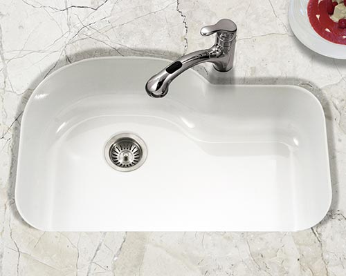 Houzer Porcela series PCH-3700 offset single bowl undermount kitchen sink in White porcelain enamel