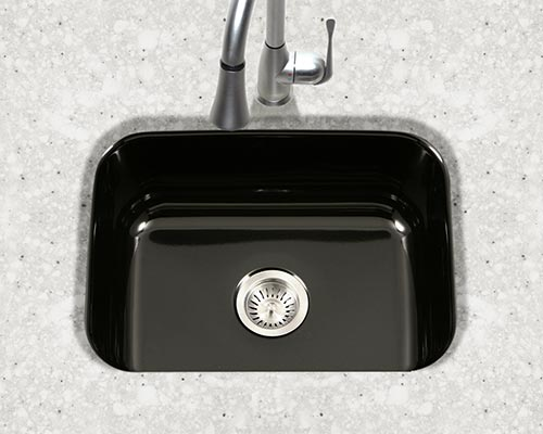 Houzer Porcela series PCS-2500 small single bowl undermount kitchen sink in Black porcelain enamel