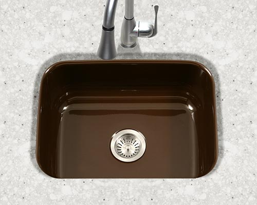 Houzer Porcela series PCS-2500 small single bowl undermount kitchen sink in Espresso Brown porcelain enamel