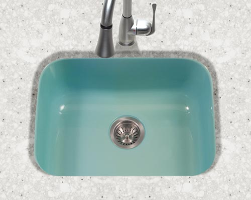 Houzer Porcela series PCS-2500 small single bowl undermount kitchen sink in Mint Green porcelain enamel