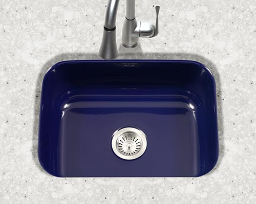 Houzer Porcela series PCS-2500 small single bowl undermount kitchen sink in Navy Blue porcelain enamel
