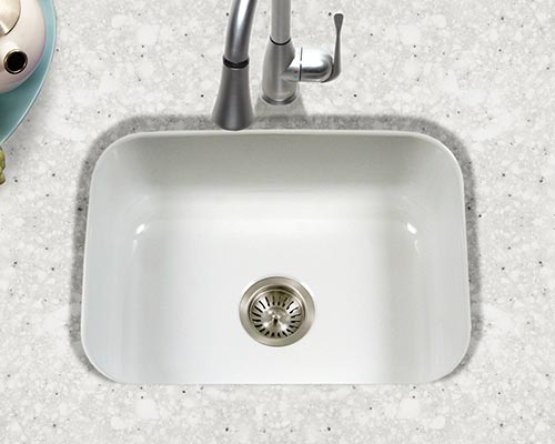 Houzer Porcela series PCS-2500 small single bowl undermount kitchen sink in White porcelain enamel