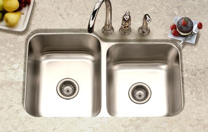Houzer Elite series EC-3208SR offset double bowl undermount kitchen sink