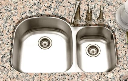 Houzer Eston Series PNC 3200SR Offset Double Bowl Undermount Kitchen Sink  PNC 3200SR   Eston 70/30