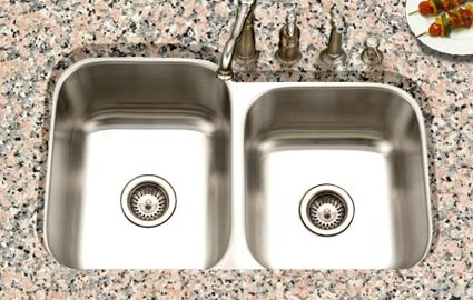 Houzer Eston Series PNE 3300SR Offset Double Bowl Undermount Kitchen Sink  PNE 3300SR   Eston 60/40