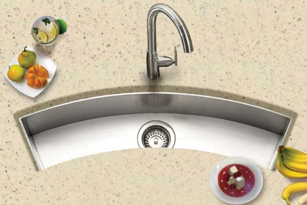Houzer Contempo series CTC-3312 curved trough sink